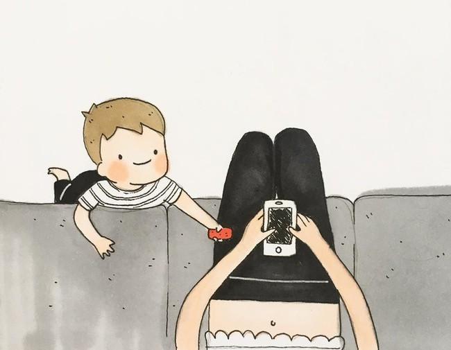 Mẹ nuôi con nhỏ nào cũng thấy mình trong những bức vẽ phác họa khoảnh khắc đời thường mà đầy xúc cảm này - Ảnh 7.