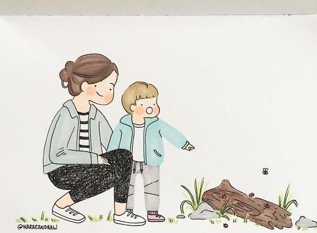 Mẹ nuôi con nhỏ nào cũng thấy mình trong những bức vẽ phác họa khoảnh khắc đời thường mà đầy xúc cảm này - Ảnh 12.