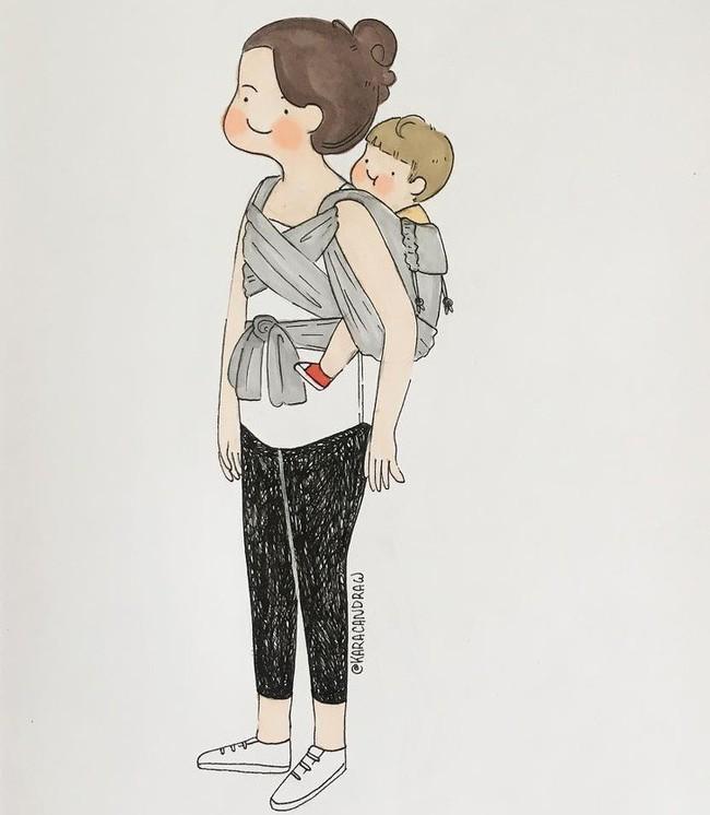 Mẹ nuôi con nhỏ nào cũng thấy mình trong những bức vẽ phác họa khoảnh khắc đời thường mà đầy xúc cảm này - Ảnh 13.