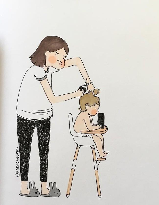 Mẹ nuôi con nhỏ nào cũng thấy mình trong những bức vẽ phác họa khoảnh khắc đời thường mà đầy xúc cảm này - Ảnh 14.
