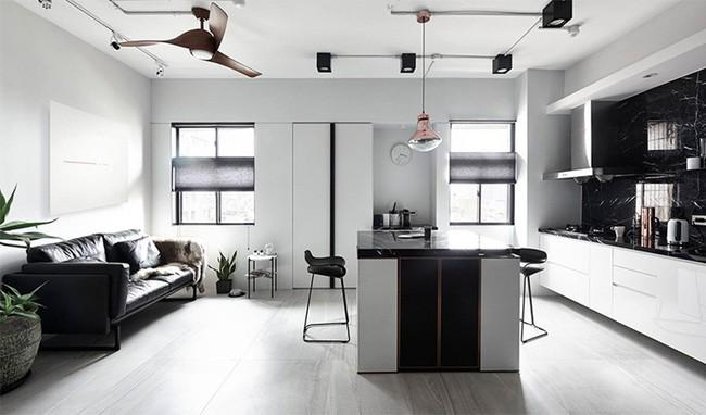 Chỉ với hai màu ghi và đen, căn hộ của cặp vợ chồng trẻ trở nên ấn tượng và cá tính bất ngờ  - Ảnh 4.