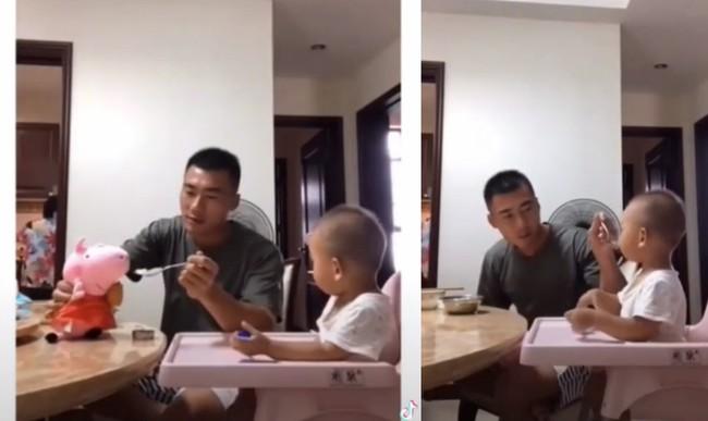 Thấy con trai biếng ăn, ông bố trẻ bèn nảy ra cách này khiến cậu bé phải há miệng ăn nhanh thun thút - Ảnh 2.