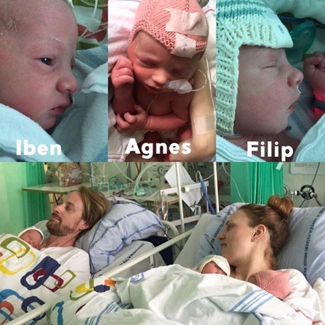 Mẹ bầu có chiếc bụng dài bất thường như muốn rớt xuống đã hạ sinh 3 thiên thần đáng yêu - Ảnh 1.