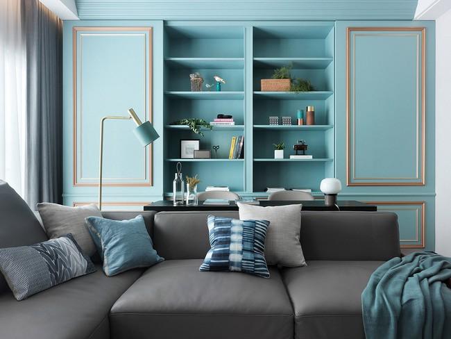 Căn hộ lấy cảm hứng trang trí từ màu xanh ngọc lam làm bừng sáng không gian đón mùa xuân - Ảnh 2.