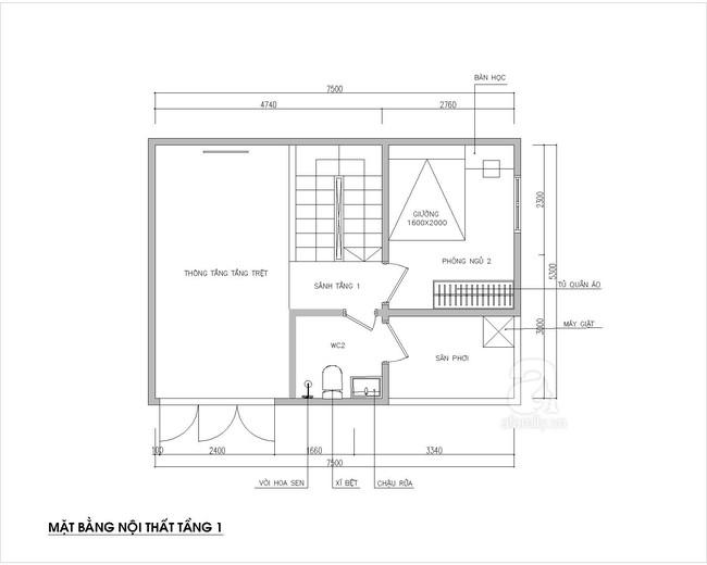 Tư vấn thiết kế nhà ống 1,5 tầng thoáng đãng với mảnh đất có ưu điểm là mặt tiền rộng nhưng khuyết điểm là chiều dài bị ngắn - Ảnh 2.