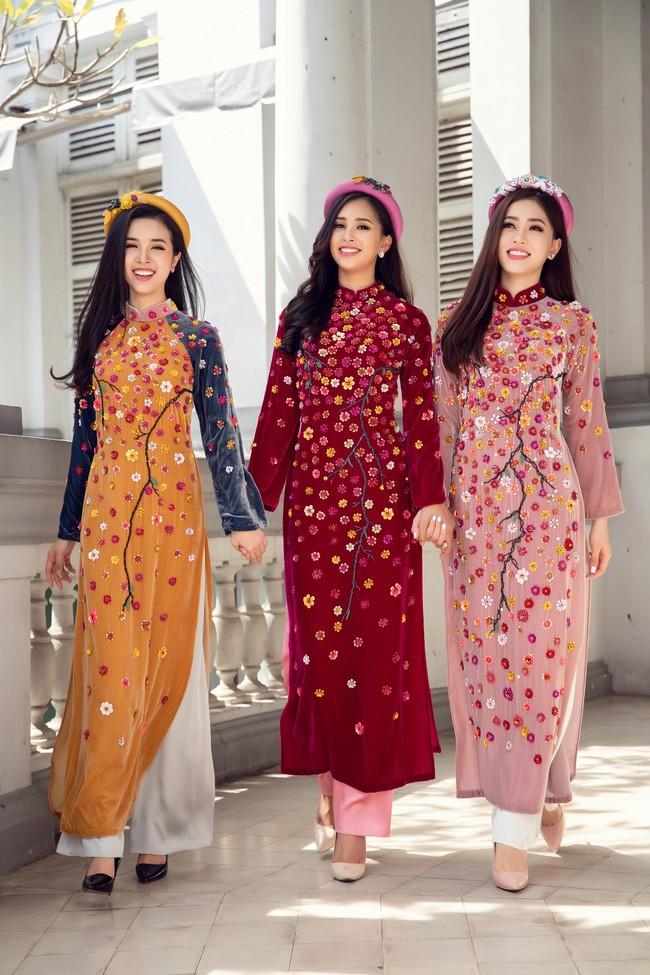 Hoa hậu Tiểu Vy, Á hậu Phương Nga, Thúy An khoe nhan sắc rực rỡ trong tà áo dài Tết - Ảnh 1.