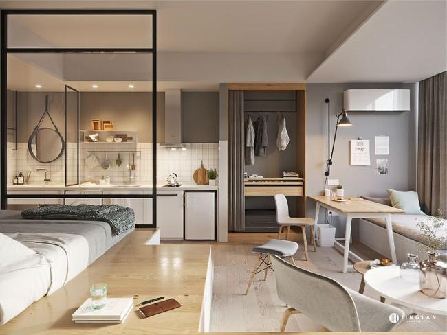 Ý tưởng thiết kế căn hộ studio siêu nhỏ nhưng cực hiện đại dành cho cả gia đình nhỏ xinh - Ảnh 3.