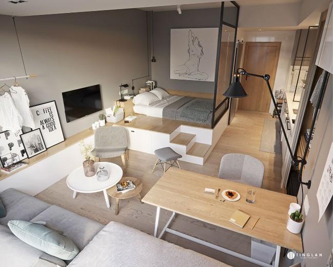 Ý tưởng thiết kế căn hộ studio siêu nhỏ nhưng cực hiện đại dành cho cả gia đình nhỏ xinh - Ảnh 4.