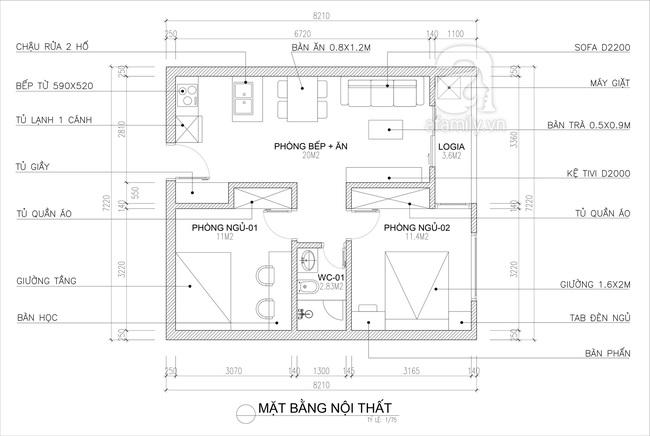 Tư vấn thiết kế căn hộ tập thể 52m2 với chi phí 140 triệu đồng - Ảnh 2.