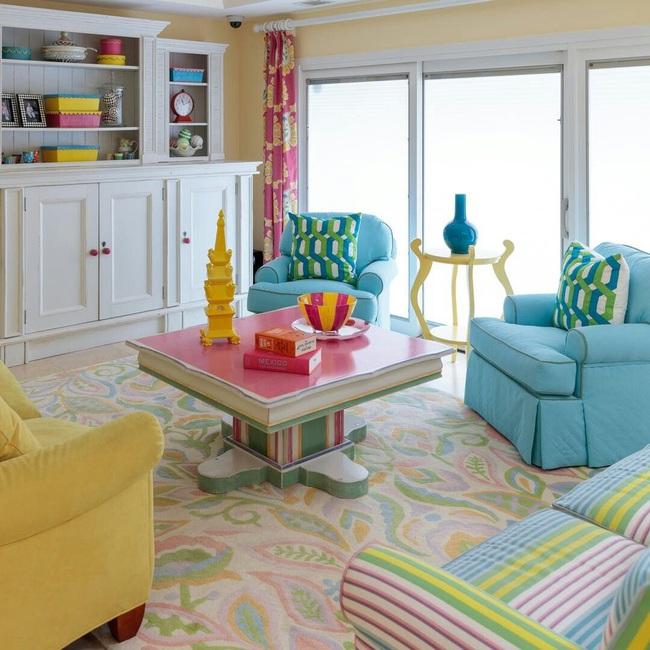 Cùng ngắm các mẫu phòng khách chỉ dành cho những ai yêu thích màu nổi - Ảnh 10.