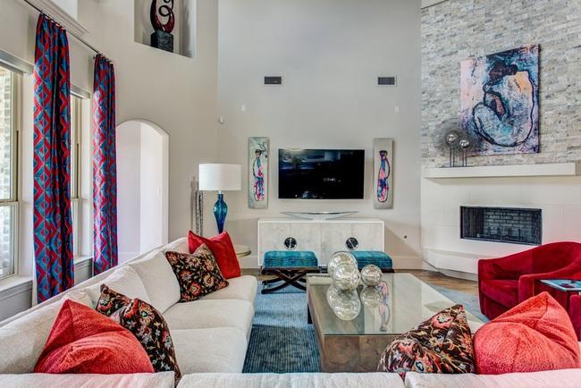 Cùng ngắm các mẫu phòng khách chỉ dành cho những ai yêu thích màu nổi - Ảnh 13.