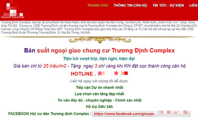 Trang web bán hàng của dự án rao bán căn hộ dù đã bị tạm dừng