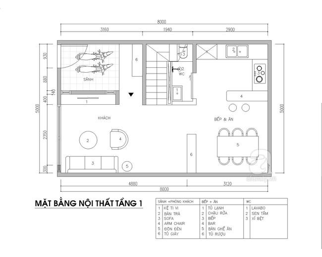 Tư vấn thiết kế nội thất phù hợp cho nhà phố với diện tích xây dựng 5x8m có tổng chi phí là  - Ảnh 2.