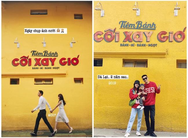 """Khoe ảnh check in ở tiệm bánh Cối Xay Gió trước và sau 2 năm, hot mom Trang Đinh bồi hồi vì có thêm """"cái đuôi"""" bé lũn chũn - Ảnh 4."""