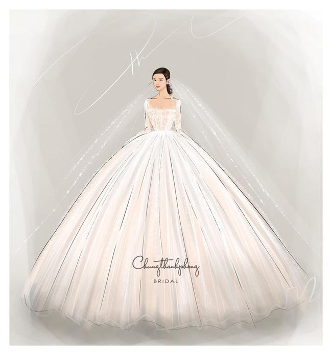 2 mẫu váy cưới chính thức của Đông Nhi vừa được hé lộ: Thiết kế lộng lẫy đẹp tuyệt trần với cảm hứng công nương Hoàng gia - Ảnh 1.