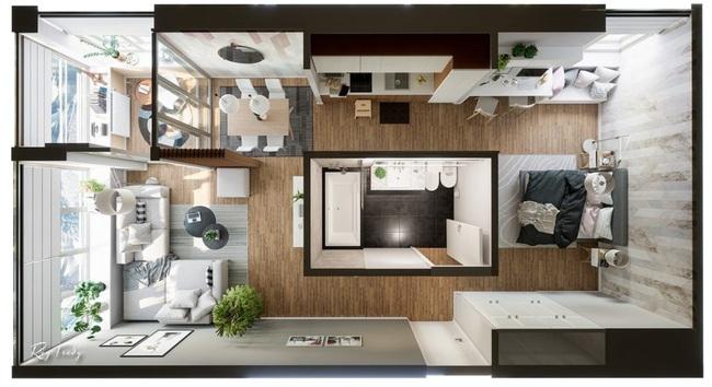Căn hộ nhỏ sáng tạo với thiết kế đặc biệt biến phòng tắm thành trung tâm - Ảnh 1.
