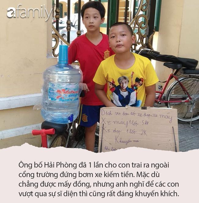 Cho con trai đứng ngoài đường bơm xe kiếm tiền, ông bố Hải Phòng dạy 2 bé bài học về sự tự lập khiến ai nấy sửng sốt - Ảnh 3.