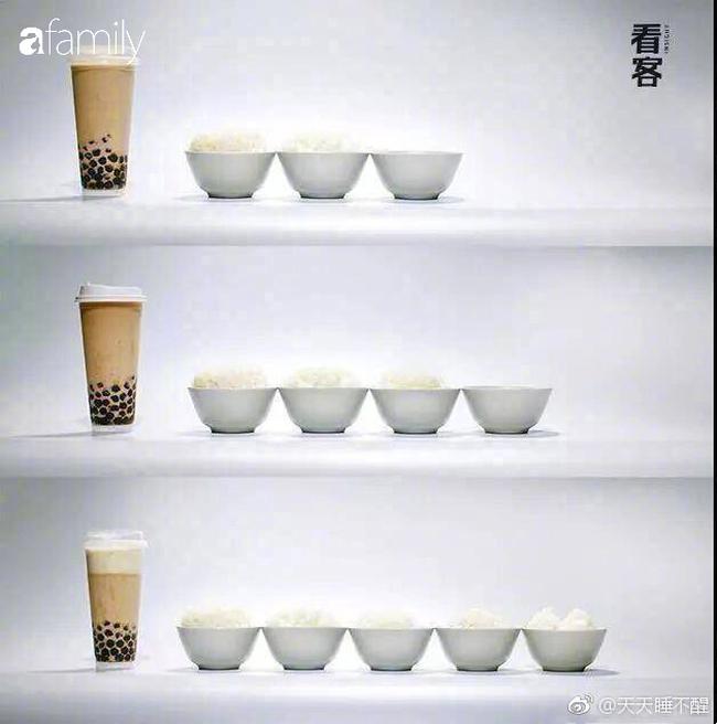 """Một cốc trà sữa bằng 5 bát cơm đầy: Ảnh quy đổi giúp bạn thấy rõ tác động """"hại dáng"""" của trà sữa - Ảnh 2."""