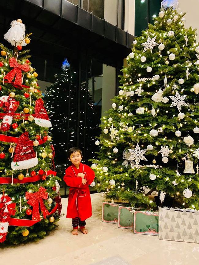 Bé Thiên Từ con trai Đan Trường mệt nhoài vì trang trí tận 5 cây thông Noel, nhìn biệt thự mà tưởng trung tâm thương mại - Ảnh 1.