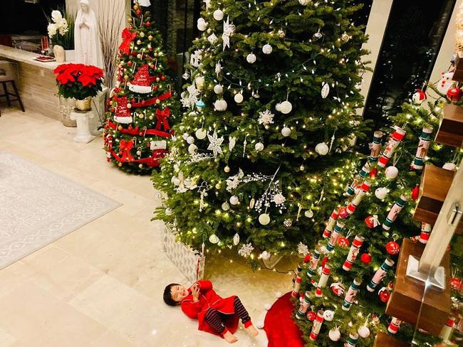 Bé Thiên Từ con trai Đan Trường mệt nhoài vì trang trí tận 5 cây thông Noel, nhìn biệt thự mà tưởng trung tâm thương mại - Ảnh 6.