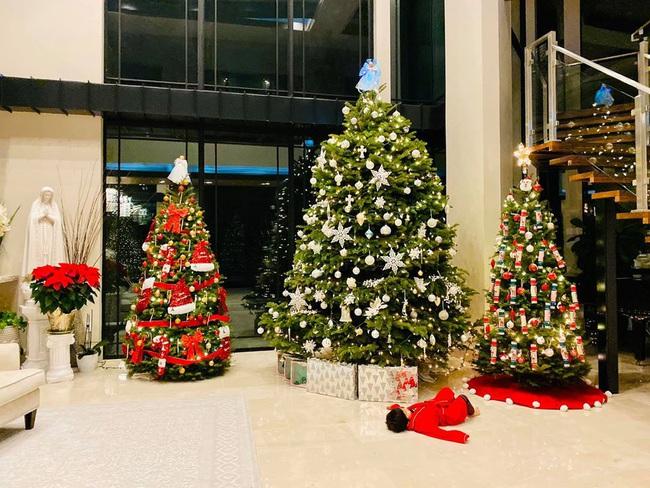Bé Thiên Từ con trai Đan Trường mệt nhoài vì trang trí tận 5 cây thông Noel, nhìn biệt thự mà tưởng trung tâm thương mại - Ảnh 5.