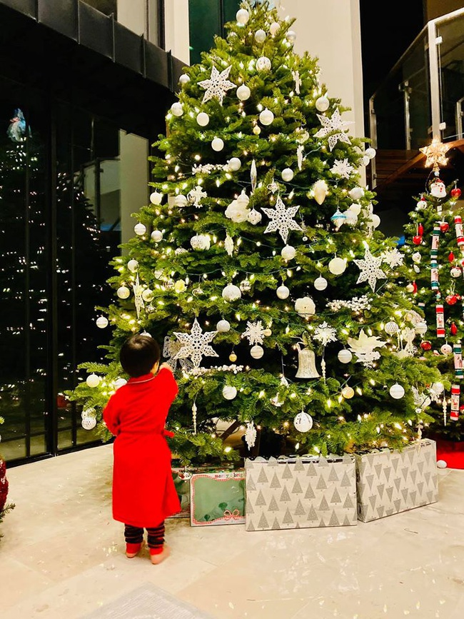 Bé Thiên Từ con trai Đan Trường mệt nhoài vì trang trí tận 5 cây thông Noel, nhìn biệt thự mà tưởng trung tâm thương mại - Ảnh 2.