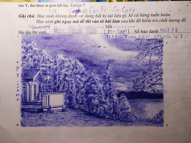 Làm bài thi xong vẫn còn thừa giờ, cậu học sinh ngẫu hứng ngồi vẽ tranh vào giấy nháp, thành quả khiến ai cũng sốc nặng - Ảnh 2.