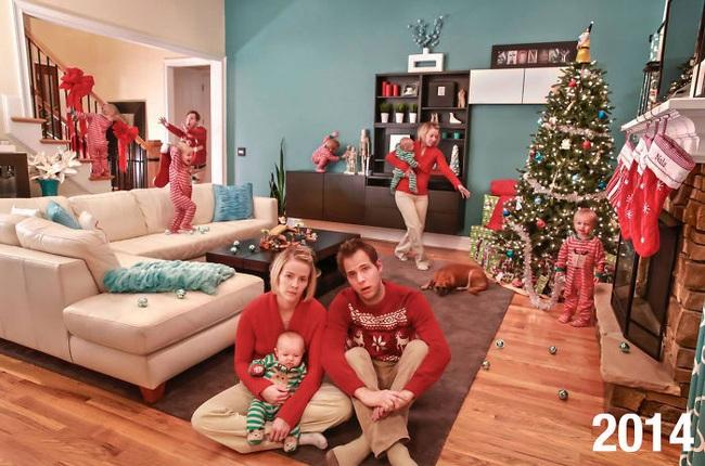 """Cặp vợ chồng đông con chụp ảnh """"phơi bày sự thật"""" về lễ Giáng sinh và tình hình ngày càng """"khó đỡ"""" khi lũ trẻ lớn dần lên - Ảnh 2."""