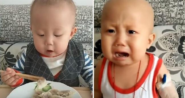 """Đằng sau vẻ mặt """"ham ăn"""" của cậu nhóc 2 tuổi là những nỗi đau đớn do căn bệnh ung thư ác tính gây ra khiến nhiều người không cầm được nước mắt - Ảnh 5."""
