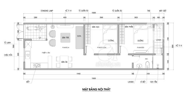 Tư vấn thiết kế nhà 1 tầng có diện tích 5x15m với tổng chi phí 158 triệu đồng - Ảnh 2.