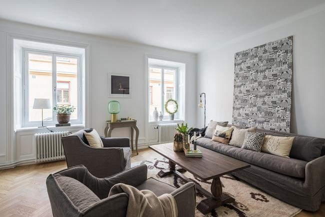 Nội thất màu sáng hài hòa trong căn hộ màu trắng xám siêu hiện đại ở Nga - Ảnh 4.
