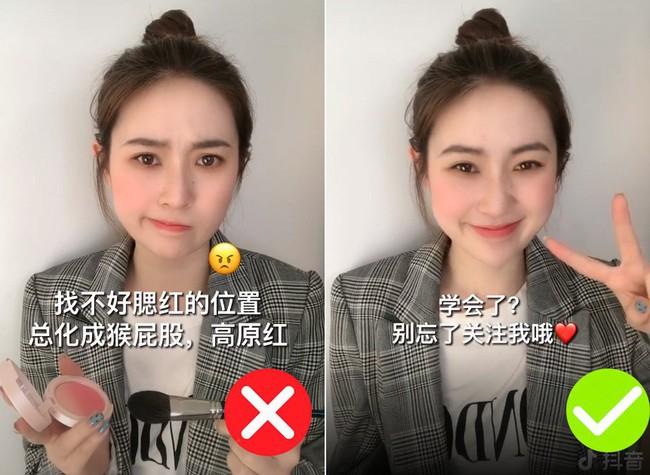 Để không thành trò hề do đánh má hồng quá tay, nàng hot girl Trung Quốc đã áp dụng một thủ thuật siêu đơn giản - Ảnh 1.