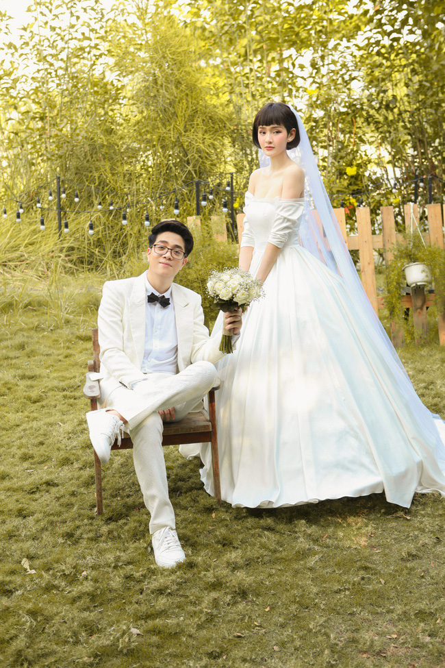 Hiền Hồ diện váy cưới xinh đẹp, trở thành cô dâu của Bùi Anh Tuấn - Ảnh 1.