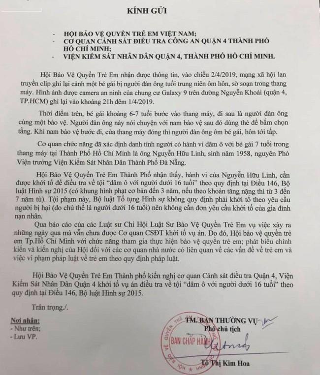 Hội Bảo vệ quyền trẻ em TP.HCM yêu cầu khởi tố tội Dâm ô trẻ em đối với ông Nguyễn Hữu Linh - Ảnh 1.