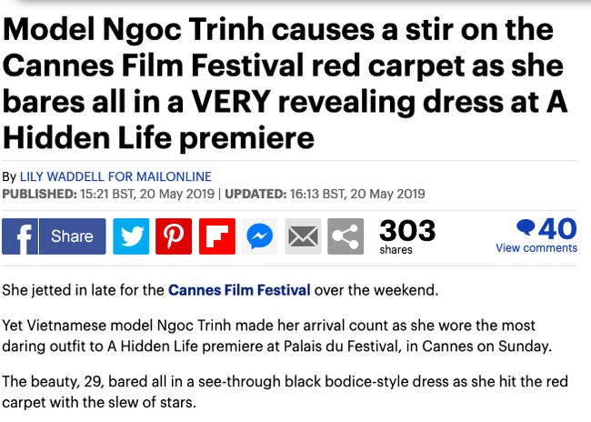 Báo Anh soi cận cảnh màn xuất hiện không nội y của Ngọc Trinh trên thảm đỏ Cannes 2019 - Ảnh 1.