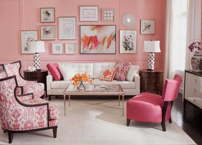Những mẫu phòng khách màu hồng khiến bạn lúc nào cũng muốn về nhà - Ảnh 1.