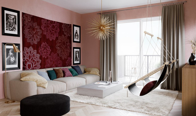 Những mẫu phòng khách màu hồng khiến bạn lúc nào cũng muốn về nhà - Ảnh 11.