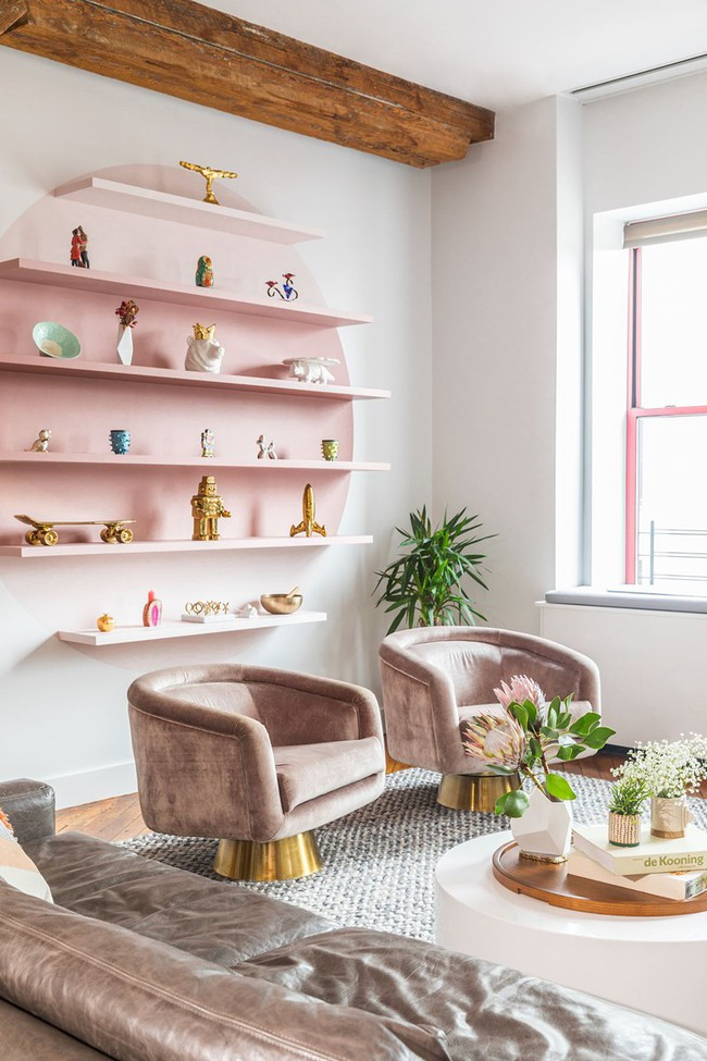 Những mẫu phòng khách màu hồng khiến bạn lúc nào cũng muốn về nhà - Ảnh 7.