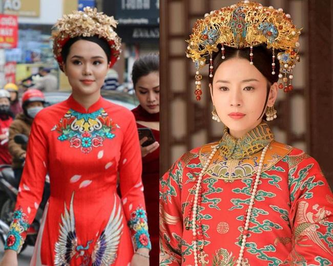 Cô dâu Quỳnh Anh khiến dân tình choáng ngợp với xiêm y lộng lẫy, sang chảnh hệt như Phú Sát Hoàng hậu trong Như Ý Truyện - Ảnh 5.