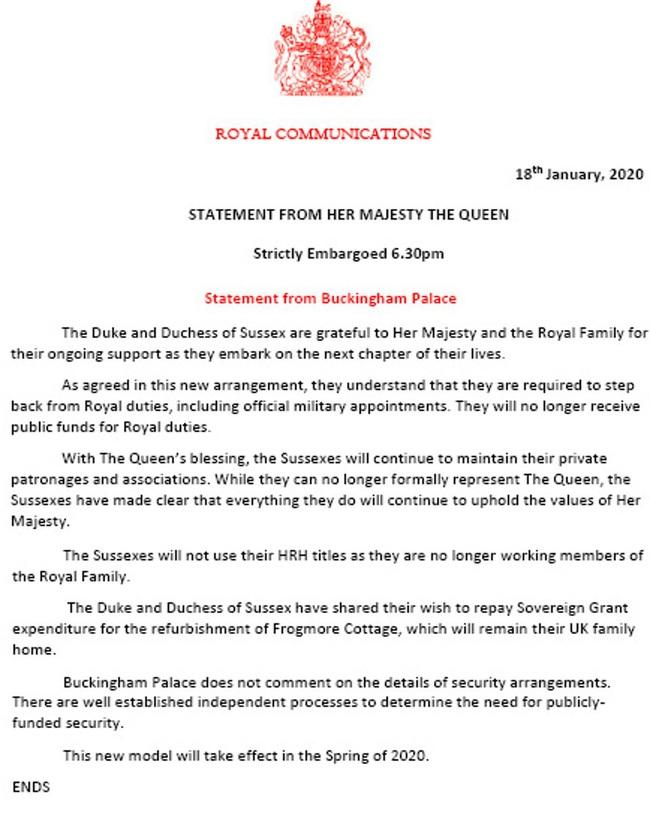 HOT: Vợ chồng Meghan Markle từ bỏ tước hiệu hoàng gia, Nữ hoàng Anh nói lời cảm ơn cặp đôi trong thông báo mới nhất - Ảnh 1.