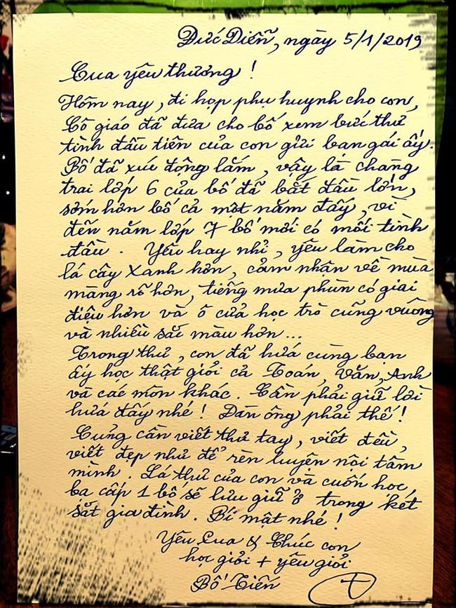 """Bức thư tay của tác giả """"Bà tôi"""" viết cho con trai về tình đầu  - Ảnh 1."""