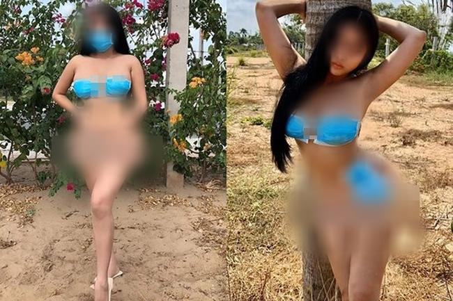 Cô gái lấy khẩu trang làm bikini che vòng 1 lẫn vòng 3 giữa đại dịch corona bị dân mạng chỉ trích kịch liệt - Ảnh 1.