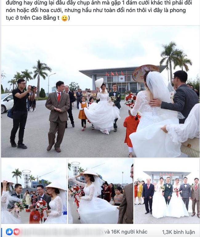Đang chụp ảnh cưới trên đường thì gặp đoàn rước dâu khác, cô dâu - chú rể liền có hành động đặc biệt khiến nhiều người bất ngờ - Ảnh 1.