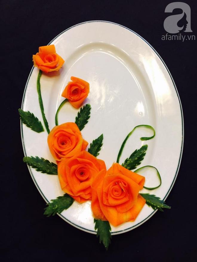 Cách tỉa hoa hồng siêu xinh từ cà rốt và dưa chuột - Ảnh 6.