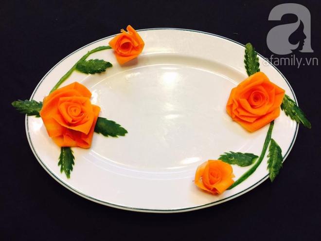 Cách tỉa hoa hồng siêu xinh từ cà rốt và dưa chuột - Ảnh 7.
