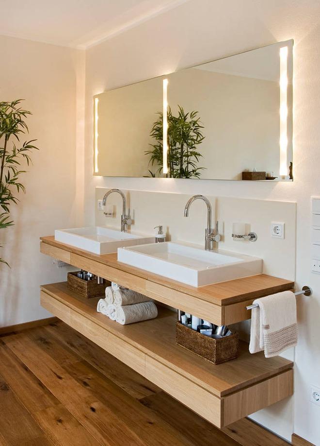 Thiết kế kệ mở giúp phòng tắm gia đình trở nên hoàn hảo đến khó tin - Ảnh 1.