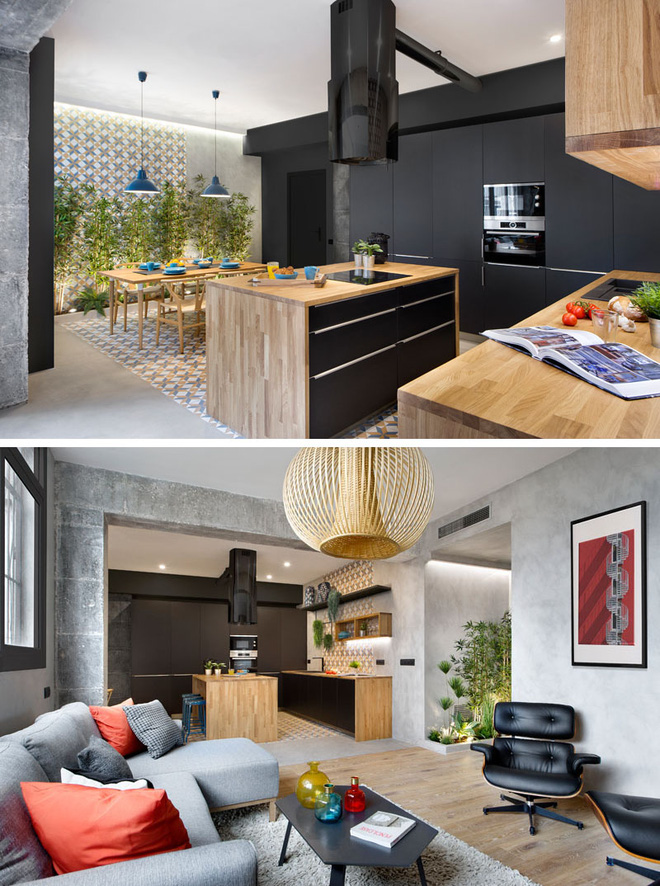 Chiêm ngưỡng căn hộ đầy lôi cuốn nhờ sự kết hợp ấn tượng của bê tông, gỗ, gạch ốp và màu đen - Ảnh 2.