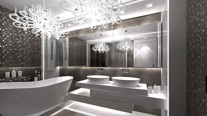 Đèn chùm – món đồ hữu dụng biến phòng tắm gia đình trông vừa đẹp vừa sang trong phút chốc - Ảnh 1.