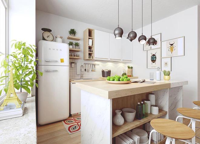 Sơn trắng toàn bộ không gian kết hợp nội thất gỗ - màu công thức cho một căn bếp nhỏ tinh tế và hiện đại - Ảnh 1.