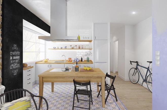 Sơn trắng toàn bộ không gian kết hợp nội thất gỗ - màu công thức cho một căn bếp nhỏ tinh tế và hiện đại - Ảnh 4.